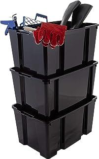 Iris Ohyama, Lot de 3 boîtes / bacs de rangement empilables pour articles de bricolage - Hobby Box - HB-45, plastique, noi...