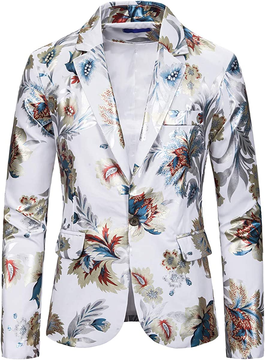Be super welcome Mens Dress Floral Suit Slim Fit Casual Single Stylish Breasted service P