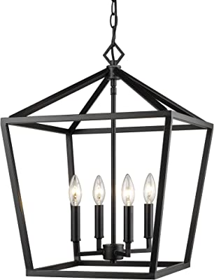 Millennium 3244-MB Transitional Four Light Pendant from Corona Collection Finish, Matte Black