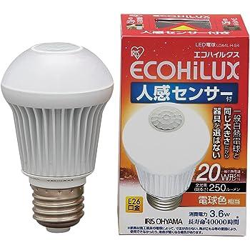 アイリスオーヤマ LED電球 口金直径26mm 20W形相当 電球色 下方向タイプ 人感センサー エコハイルクス LDA4L-H-S4