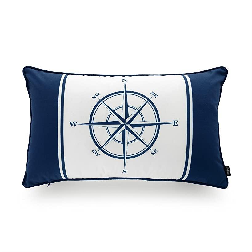 Hofdeco Nautical Indoor Outdoor Pillow Cover ONLY, Water Resistant for Patio Lounge Sofa, Navy Blue Compass, 12