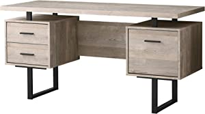 """Monarch Specialties Computer Desk with Drawers - Contemporary Style - Home & Office Computer Desk with Metal Legs - 60"""" L (Taupe Reclaimed Wood Look)"""