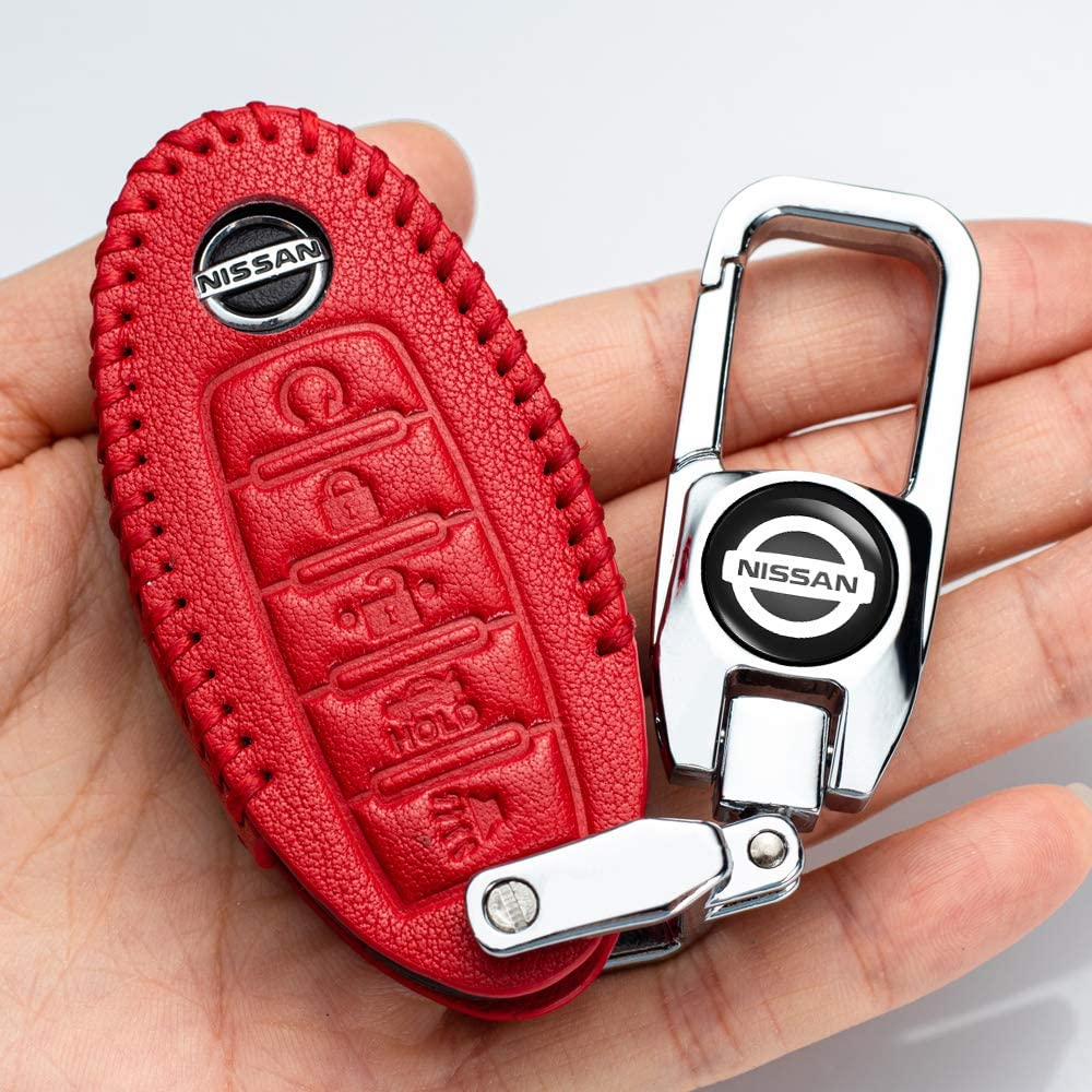 Maxima Rogue Car Key fob Cover Key case for Nissan Genuine Leather Protector Keychain for 2020 Nissan Versa Sentra Altima Altima Rogue Maxima Armada Leaf Sentra GT-R 350Z 370Z 5-Buttons