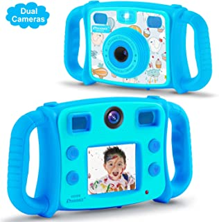 PROGRACE Kids Camera for Boys Gift 1080P Children Selfie Camera Kids Video Camera 2 Inch LCD Duo Camera 4X Digital Zoom Camcorder and Game