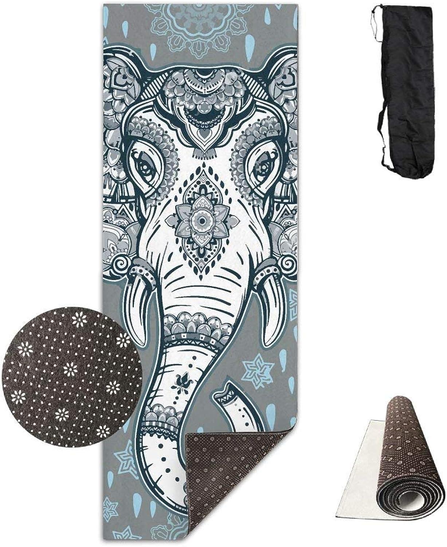 Beautiful Bohemian Elephant Yoga Mat Towel for Bikram Hot Yoga, Yoga and Pilates, Paddle Board Yoga, Sports, Exercise, Fitness Towel