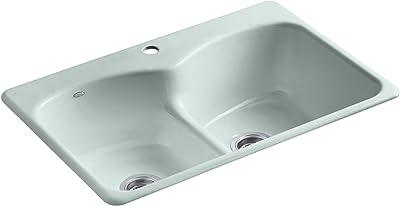 Kohler K-6626-1-FE Langlade Smart Divide Self-Rimming Kitchen Sink with Single-Hole Faucet Drilling, Frost