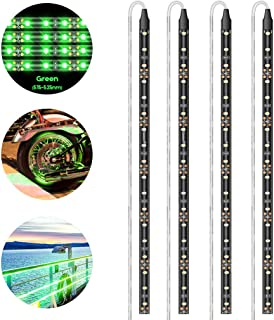 Geeon LED Strip Lights Waterproof 12V Green (515-525nm) for Auto Car Truck Motorcycle Boat Interior Lighting UL Listed 30CM/12'' 3528 SMD Pack of 4