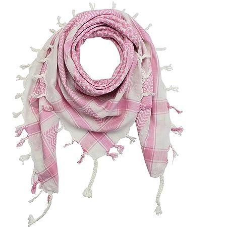Freak Scene Kefiah - bianco - rosa - 100x100 cm - Shemagh - Sciarpa Arafat Foulard kefiah palestinese 100% cotone