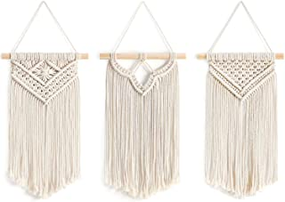 """Mkono Small Macrame Wall Hanging, 3 Pack Art Woven Wall Decor Boho Chic Home Decoration for Apartment Bedroom Living Room Gallery, 8"""" Wx 14"""" L"""