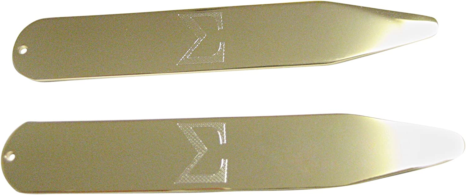 Gold Toned Etched Mathematical Greek Sigma Symbol Collar Stays
