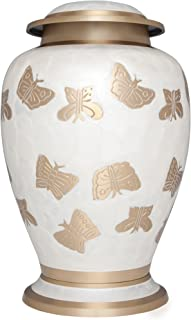 Liliane Memorials White Funeral Cremation Urn with Gold Butterflies Mariposas Model in Brass for Human Ashes; Suitable for Cemetery Burial; Fits Remains of Adults up to 200 lbs, Large/200 lb,
