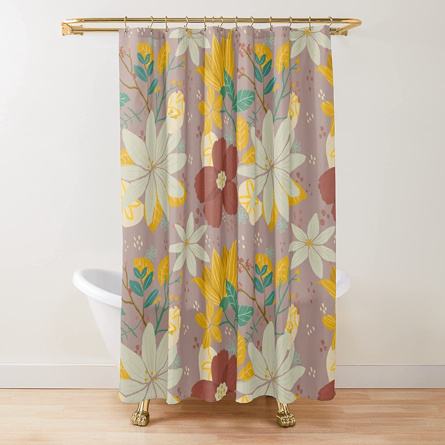 Botanic Mix excellence Fabric Large discharge sale Shower Curtains C Bathroom Printed Customize