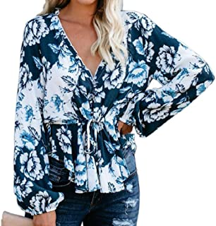 S-Fly Women Casual Shirt Long-Sleeve Tie Up Floral Print V Neck Blouse Shirt Tops