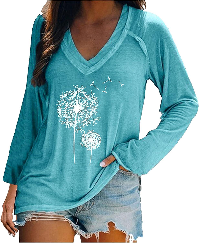 JSPOYOU T-Shirt for Women Graphic,Womens Girls Cute Print Tops Long Sleeve V-Neck Loose Blouse Tunics