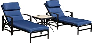 LOKATSE HOME Patio Chaise Lounge Chair Set with Table Outdoor Metal Chairs Furniture, Blue