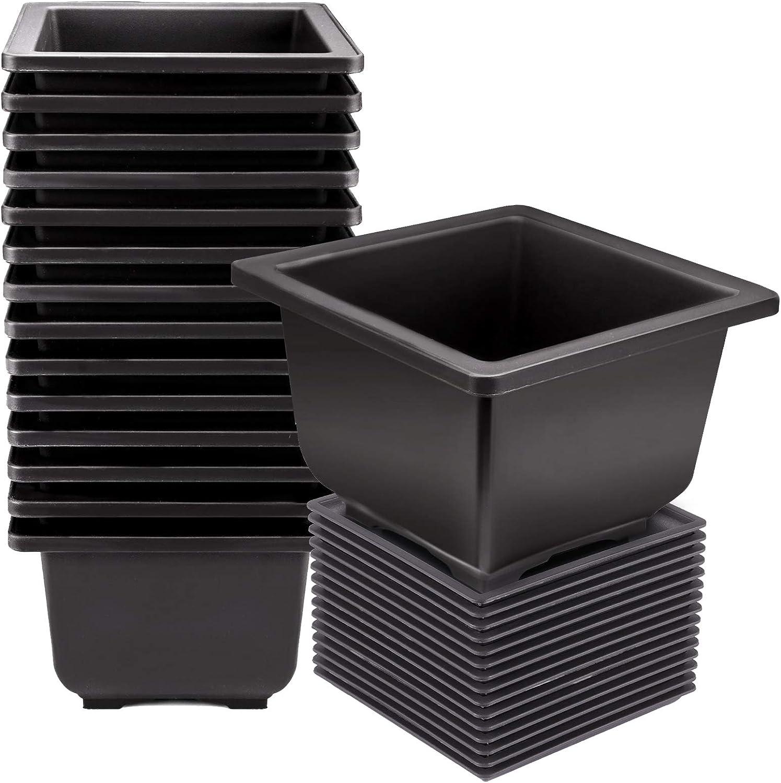 KINJOEK 15 PCS 4.7 Inch Plant Pot, Square Plastic Bonsai Training Pots, Flower Succulent Pots Container for Garden, Indoor, Home Decorative with Square Trays 5.3 Inch
