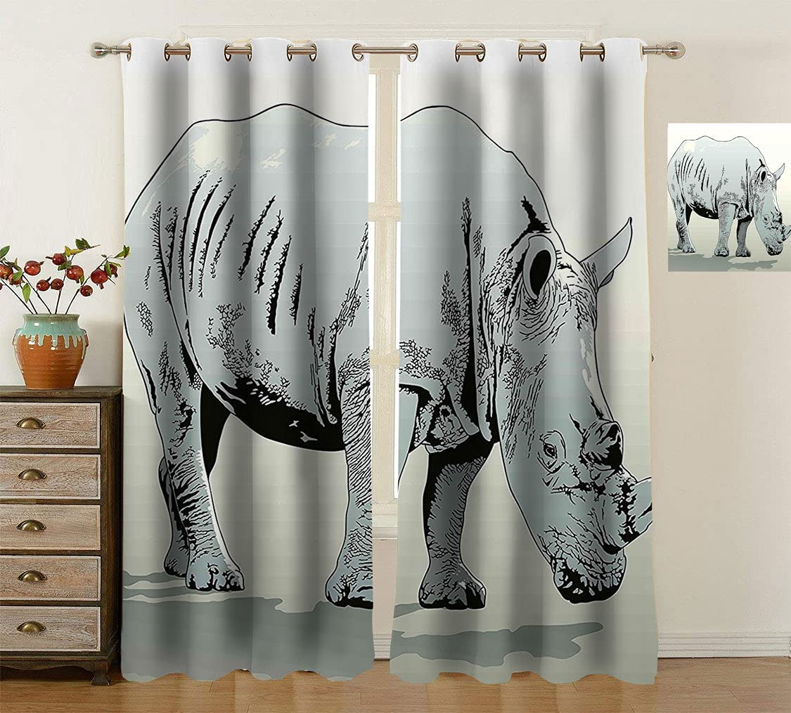 low-pricing Animal Noise Reduce Washington Mall Curtains African Illustra Rhinoceros Animals