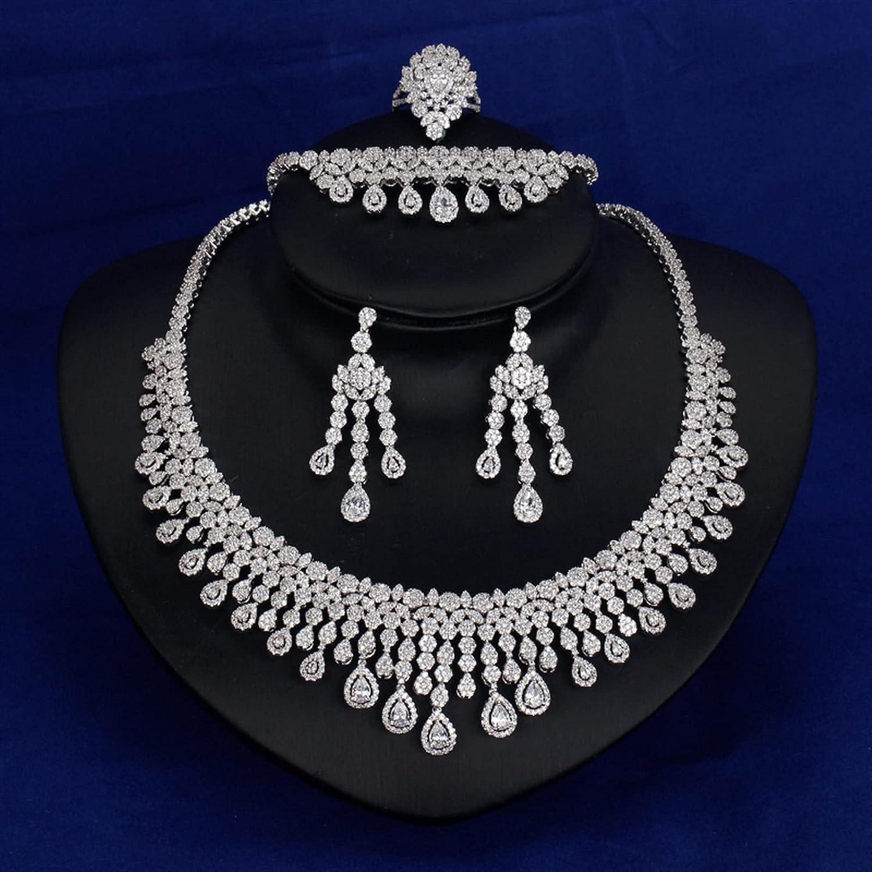 SYXMSM Jewellery Set Cubic Zirconia Bracelet Earrings Necklace Award-winning Arlington Mall store R