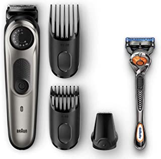 Braun BT5065 Beard Trimmer & Hair Clipper, Mini Foil Shaver Attachment, Black/Silver
