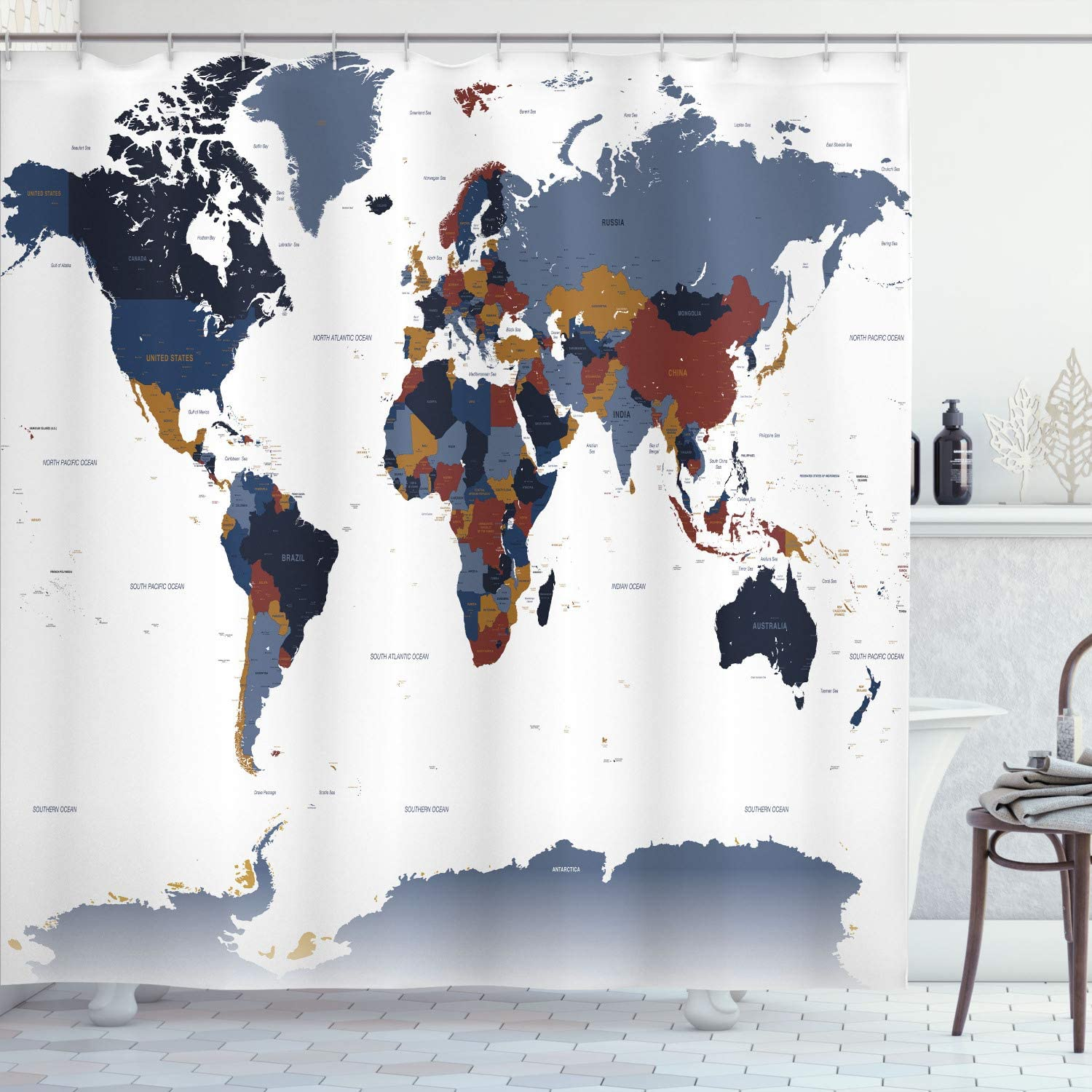 Ambesonne Earth Shower Curtain, Detailed World Map with All Coun
