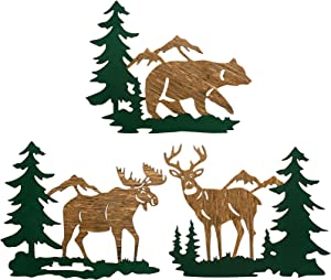 3 Pieces Woodland Animals and Mountains Wooden Decor Rustic Cabin Woodland Animal Wall Art Bear Moose Deer Woodland Wood Decoration for Home Wall Bathroom Bedroom