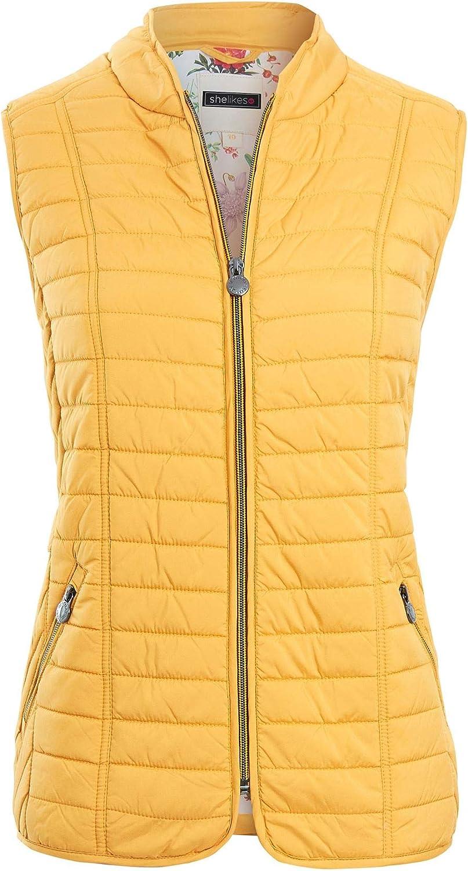 shelikes Womens Ladies Mustard Navy Sleeveless Waistcoat Contrast Floral Lining Gilet Jacket Coat Top
