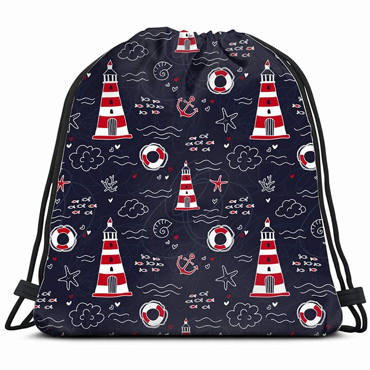 nautical lighthouse cartoon the arts Drawstring Backpack Gym Sack Lightweight Bag Water Resistant Gym Backpack for Women&Men for Sports,Travelling,Hiking,Camping,Shopping Yoga