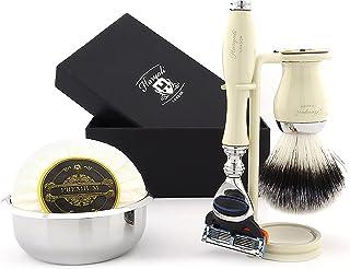 Zestaw do golenia dla mężczyzn srebrna końcówka borsuka włosie szczotka do golenia ze stojakiem/uchwytem i mydłem - idealn...