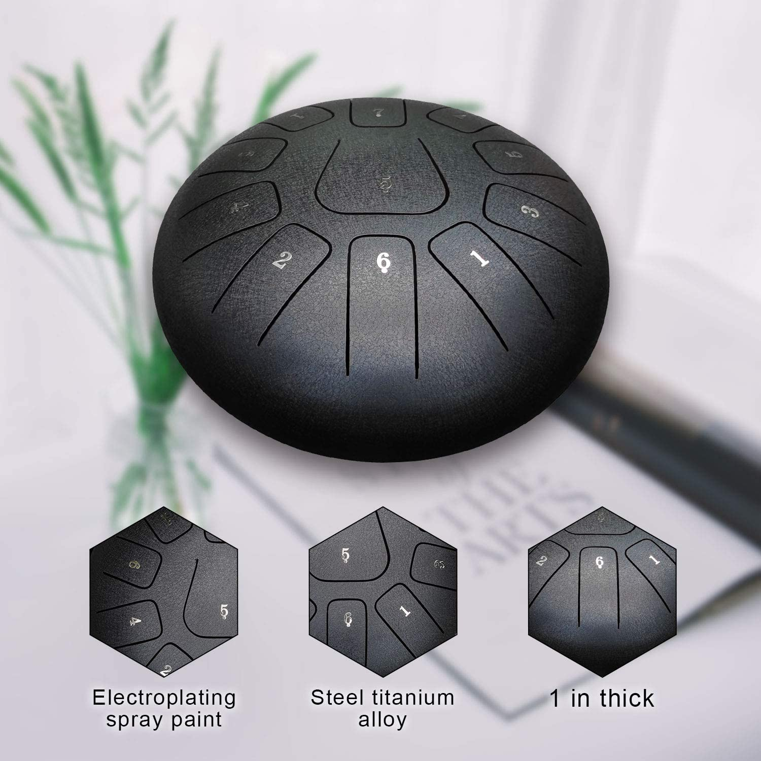 starry black Mallets notes sticker,Finger Picks Music Book Starry steel Tongue Drum,ASTEMAN 12 inch 11 Notes Steel Drums Percussion Instrument with Bag