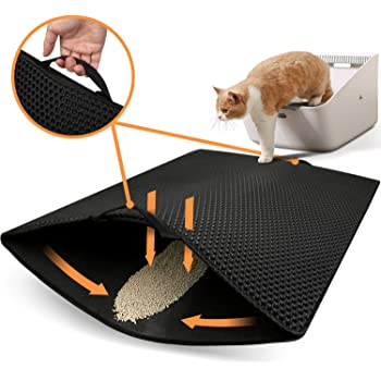 Polarduck Cat Litter Mat,Cat Litter Trapping Mat Extra Large, Honeycomb Double Layer Design, Urine and Water Proof Material, Special Side Handles Design Easier to Clean, Washable
