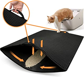"""Polarduck Cat Litter Mat, 32"""" X 25"""", CatLitterTrappingMat Extra Large, Honeycomb Double Layer Design, Urine and Water Proof Material, Special Side Handles Design Easier to Clean, Washable"""