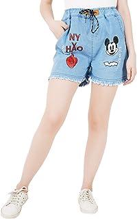 WILFREDO NY Light Blue Rough Look Denim Shorts for Women's (Pack of 1)