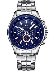 [メガリス]MEGALITH 腕時計 メンズ時計ステンレススチール防水 クロノグラフウオッチブラック 多針アナログクオーツ腕時計金属 ルミナス夜光 日付表示 ラグジュアリー おしゃれ ビジネス カジュアル メタル男性腕時計