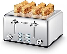 توستر 4 اسلایر توستر Geek Chef از جنس استنلس استیل فوق العاده پهن توستر با پانل های کنترل دوتایی Bagel ، یخ زدایی ، عملکرد لغو ، 6 تنظیمات سایه نان تست ، سینی های خرده متحرک ، پاپ آپ خودکار