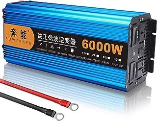 Pure Sine Wave Inverter 3000W Car Power Inverter 12V/24V DC to 220V AC Car Converter 6000W (Peak) with AC Outlets and USB ...