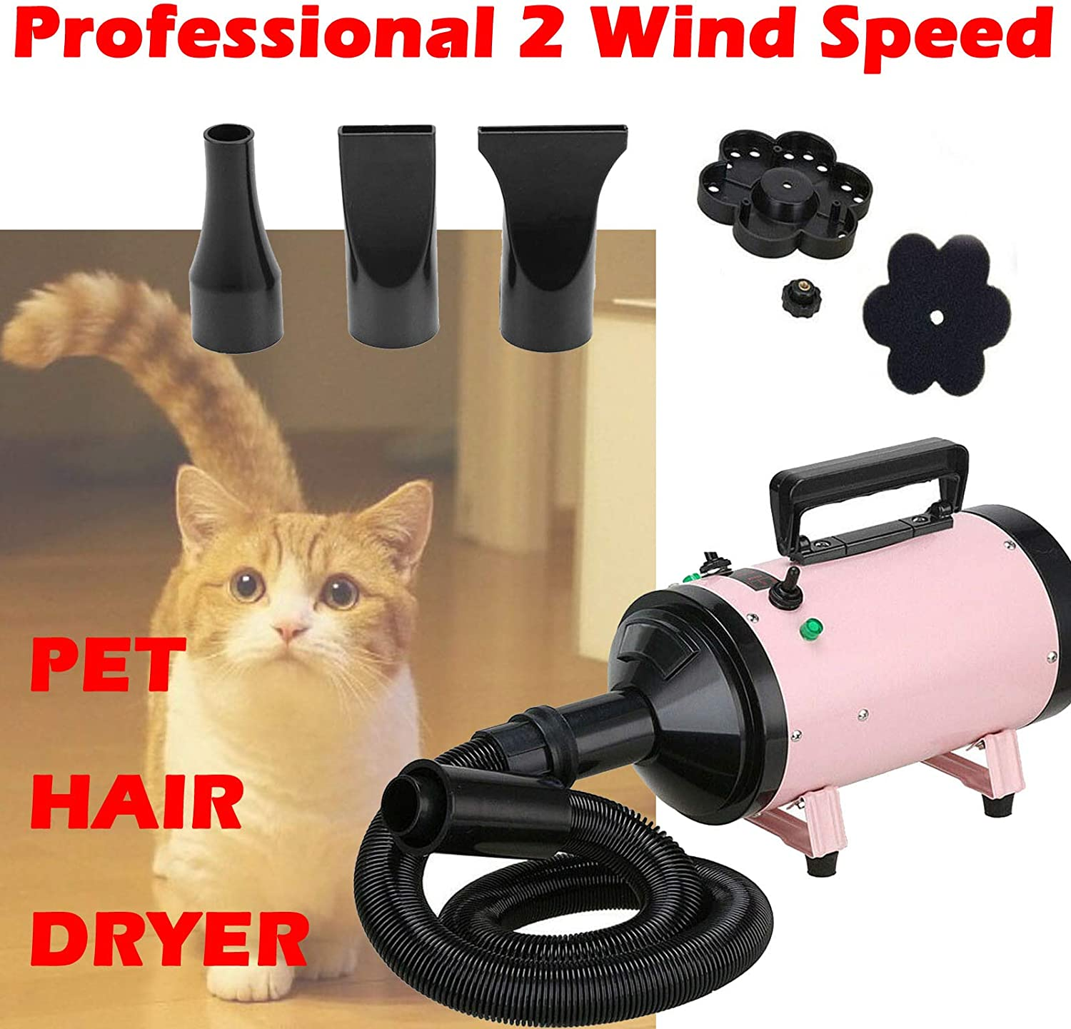 Professional Pet Hair Dryer Cat Dog Grooming Shower Bath Blower Dryer Blaster 2 Wind Speed Safety Heater Low Noise 2.5M Flexible Hose with 3 Nozzles 2800W Pink 1 pcs