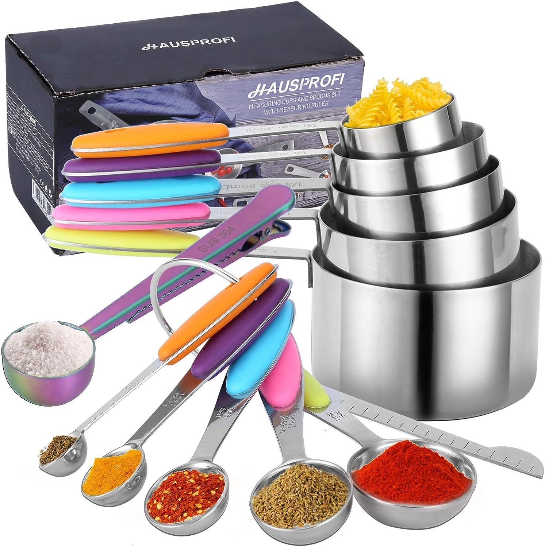 Juego de 12 tazas medidoras y cucharas de acero inoxidable con regla de medición, 5 tazas medidoras, 5 cucharas medidoras, 1 regla de medición, 1 cop con clip, mango de silicona para cocinar hornear