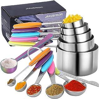 HAUSPROFI Ensemble de 12 Cuillère Doseuse avec Poignée en Silicone Cup Mesure Cuisine 5 Cups + 5 Cuillères Mesure + 1 Règl...