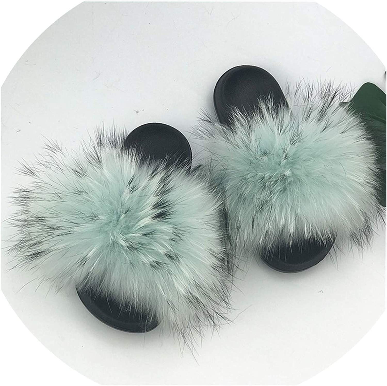 Just XiaoZhouZhou 28 colors Real Fur Slippers Women Fox Fluffy Sliders Comfort with Feathers Furry Summer Flats Sweet Ladies shoes Plus Size 36-45,24,91