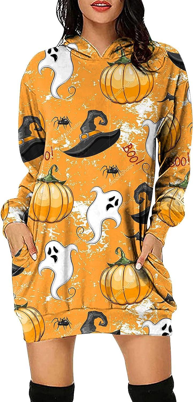 Halloween Pumpkin Ghost Printed Long Sleeve Hoodie Dress For Women With Pocket Casual Cozy Sweatshirt Pullover Tops