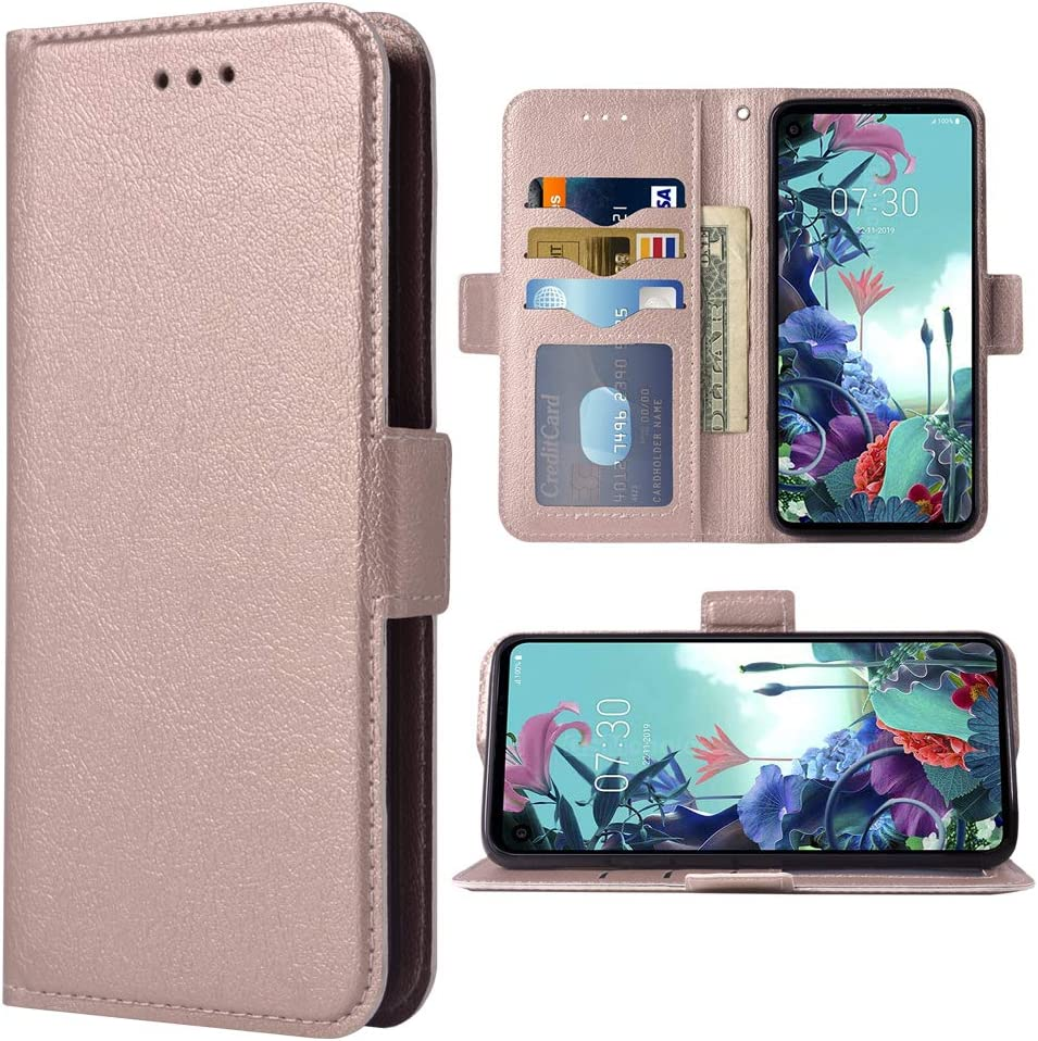 Compatible with LG Q70 Wallet Case Leather Flip Cover Card Holder Stand Cell Accessories Phone Cases for LGQ70 Q730 Q 70 LGQ70phone Women Men Rose Gold