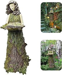 sahadsbv Statuary avec mangeoire à colibris, 2 en 1 Spring Summer Garden Sculptures Mangeoire à Oiseaux Art Sculptures Sta...