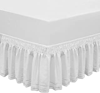 QSY Home Wrap Around Elastic Eyelet Bed Skirts 14 1/2 Inches Drop Dust Ruffle Three Fabric Sides Easy On/Easy Off Adjustab...