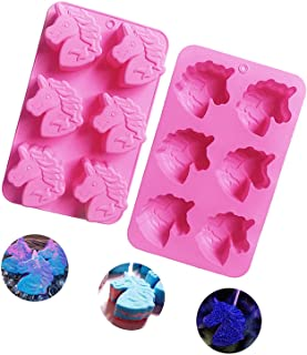 DD-life 2Pcs Unicorn Silicone Molds,Cute Molds for Soaps, Cake Baking Mold, Candle Mold Resin Mold for Homemade Craft