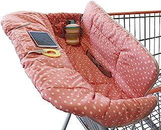 Funda para carrito de la compra para bebé o bebé | 2 en 1 funda para silla alta | Ajuste universal para niño o niña | Incluye bolsa de transporte | lavable a máquina | Se adapta a la silla alta de restaurante..., Rosado con puntos