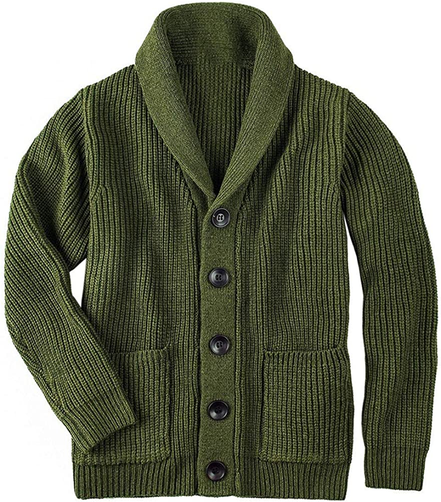 Arlita Men's Shawl Collar Cardigan Sweater Button Down Solid Knitwear with Pockets