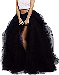 Women Wedding Planning Long Maxi Tulle Special Occasion Bustle Night Out Skirt