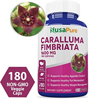 Caralluma Fimbriata 1600mg - 180 Veggie Capsules (Non-GMO & Gluten Free) Natural Extract Weight Loss Diet Pill Supplements, Natural Plant Root Appetite Suppressant