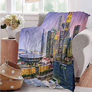 Blanket,Blanket for Women Plush Blanket Double Print Urban Skyline of Singapore Super Soft Hed Resistant 84