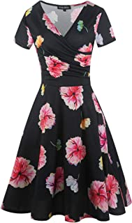 oxiuly Women's Elegant Chic V-Neck Cotton Blend Stretchy Casual A-Line Midi Dress with Pockets OX288